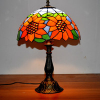 Wholesale multi colourful stained lead glass lamp Tiffany Style Lamp handcrafted classic table lamp bedroom desk lamp sunflower light