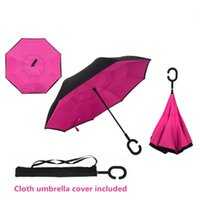 Wholesale Windproof Reverse Folding Double Layer Inverted Chuva Umbrella Self Stand Inside Out Rain Protection C Hook Hands For Car