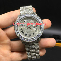 Wholesale Full iced new arrivals brand watch day date work sweep smoothly mechanical automatic movement diamonds face big stones bezel luxury watches