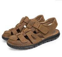 Precio de Transpirables zapatillas para hombre-Hombres Verano Sandalias Hombres Zapatos de cuero suave Zapatos de moda Zapatos Hombre Zapatillas al aire libre Hombre transpirable Diapositivas Confort Zapatilla