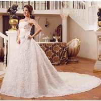 Wholesale Hot Selling Bride Sexy White Strapless Gown Wedding Dresses Lace Up Court Train Women Married A Line Dresses Flowers Tiered Skirt Plus Size