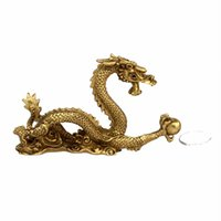 Metal ancient china arts - Chinese Ancient Mascot Copper Dragon Sculpture Art Crafts Home Dragon Statue Office Oranment Decor Collection