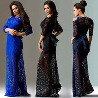 Wholesale New Arrival Women s Sleeve Evening Party Lace Dress with Bare shoulders Floor Length Maxi Dress