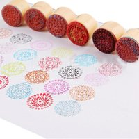 assorted stamps - Scrapbooking Stamp Retro Vintage Lace Series Round Wooden Assorted Floral Seal Stamps Diy Diary Accessories GI875266