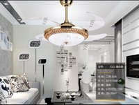 Wholesale Invisible pendant Fan light living room dining room bedroom extension through fan lights LED remote control fan pendant lamp