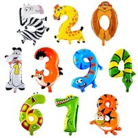 air balloon festival - 1pc Cartoon Animal Foil Balloons Numbers Helium Inflatable Air Balloons Kid Toy Happy Birthday Party Festival Wedding Decoration