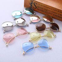 achat en gros de enfants des lunettes de protection-Enfants coréens lunettes réfléchissantes Lunettes de soleil Garçons Filles Kids Beach Supplies Lunettes de protection UV lunettes colorées Lunettes de soleil A234