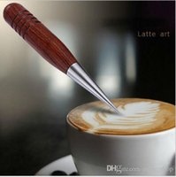 Wholesale 1PCS Fashion Collection Cappuccino Coffee Decorating Latte Art Red Wooden Handle Stainless Steel Pen Tool