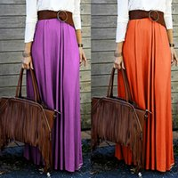 beach vacation cheap - Women Brief Purple Long Skirts Spring Casual Orange Floor Length Maxi Polyester Cheap Skirts Beach Vacation