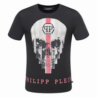 Wholesale 2017 New Tide Brand Cotton Short Fit Slim Casual Tee Print D Skulls Rhinestone desinger Kings MENS T shirts Cotton Top quality P8107