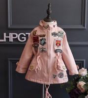 Wholesale 2016 Autumn Children Girls Korean Long Sleeve Pink Black Coats Cotton Applique Design Wind Coat Child Girl Outwears ts Cotton Applique Desig