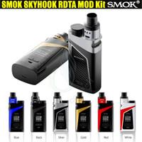 Authentique SMOK Skyhook RDTA Boîte Kit 220W TC Mod Pont Drip Tip 9ml RDTA Tank OLED écran double 18650 Batterie vapor mods vaporisateur e cigs DHL
