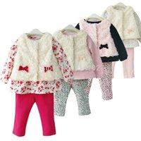 Boy Winter Cotton,Polyester Wholesale- Newborn Baby Girl Clothes Set 3-Piece Faux-Fur Vest, Shirt & Pants Toddler Infant's Princess Suit Winter Clothing Girls Wear