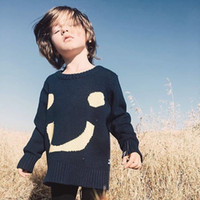 Wholesale Lovely Smile Face Pattern Children Boys Girls Loose Fashion Sweater Casual Jumper Knitwear Pullover Baby Kids Clothing Instagram Hot Style