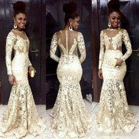 african women art - Vestidos South African Style Evening Dresses Lace Sheer Neck Long Sleeve Mermaid Prom Dresses For Woman Plus Size Formal Party Gowns