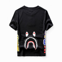 Wholesale 2017 new fashion Shark mouth popular logo printed t shirts for men and women lovers leisure with short sleeves Both sides of cartoon