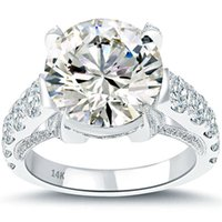 al por mayor anillo de diamante natural de oro blanco-6.99 I-VS2 Anillo de Compromiso Natural de Diamante Redondo Oro Blanco de 14k