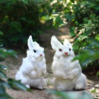 Wholesale ZILIN Easter simulation rabbit decoration cute white simulated rabbit furry animal decor lovely rabbit children gift