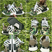 Wholesale 2017 New Super Bape x Adidas NMD Runner R1 Green Camo Triple White Men Women Running Shoes Originals Fashion NMD Runner Athletic Shoes