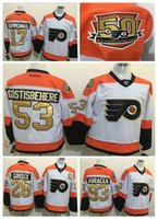 Wholesale 50th Anniversary Philadelphia Flyers hockey Jerseys Claude Giroux Wayne Simmonds Shayne Gostisbehere Winter Classic Gold Free shipp