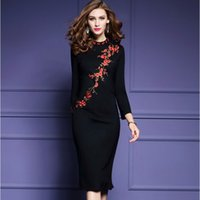 Wholesale 2017 Spring Large Size Dress Slim Show ThinThe Plum Flower Embroidery Backing Long sleeved Dress Skirt freeshipping