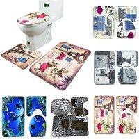 Wholesale 3pcs set Fashion Mesh Thicken Coral Fleece Floor Bath Mats Set Non Slip Bathroom Mat Set Rug For Toilet Lid Toilet Cover Carpet
