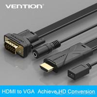 Línea de hd España-Vention 1m 1.5m 2m Negro ABCB Serie HDMI Para VGA Cable Alcanzar Conversión HD Micro USB Puerto Potencia Audio Video Line Flat Wire