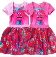 baby fancy dress costume - Baby Girls Trolls Poppy Branch Dress Kids Girl Trolls Troll Lovely Short Sleeve Cake Fancy Costume Dress Skirt Princess Cake Dresses KKA1143