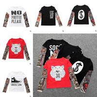 Wholesale T Shirt Tattoo Sashimi Long Sleeve Kids Patterns Printed Cotton T shirt Hip hop Style Children Tees Children