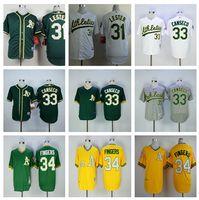 Wholesale cheap Oakland Athletics Men sbaseball jersey Fingrs Jon Lester jose canseco jersey Cool Base gray green White yellow MLB jerseys