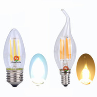 all'ingrosso candles-Edison filamento luce luci dimmerabili candela lampadine LED 2W 4W 6W LED E14 E12 E27 B22 360 che emette candelabri lampadina 110v 220v