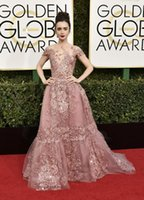 Wholesale Lily Collins in Zuhair Murad Couture at Golden Globe Awards A Line Applique Red Carpet Celebrity Dresses Evening Prom Gowns
