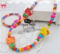 Bracelet & Necklace bead necklace kits - hot sale new cartoon children s jewelry sets necklace bracelet baby kt wood beads jewelry kits mix color randomly send sets