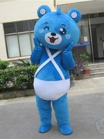 bear suits for sale - Real Pictures Blue bear mascot costume adlut suit funny dress cartoon character mascots for sale