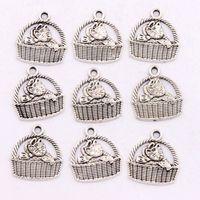 antique silver baskets - 16x17 mm Antique Silver Baby Cat Basket Charms Pendants Jewelry DIY Fit Bracelets Necklace Earrings L1155