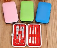 Wholesale 7pcs set Nail Clippers Stainless Steel Personal Manicure Set Pedicure Set Travel Grooming Kit with Case