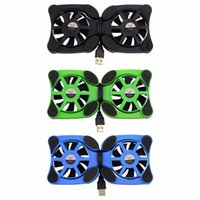 Wholesale 1 PC USB Double Fans Port Mini Portable Octopus Notebook Fan Cooler Cooling Pad For inch Laptop with LED Light