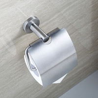 Wholesale BLH Stainless Steel Toilet Paper Holder Brushed Nickel Roll Paper Hanger with Cover Modern Bathroom Product Wall Mount
