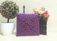 Wholesale Cheap dark royal blue laser cut wedding invitations cards hollow personalized Free print Engagement invitation card with envelope free ship