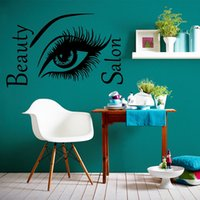 beauty wall lights - 2017 Hot Sale Eyes With Long Eyelashes Wall Sticker Beauty Shop Quote Bedroom Living Room Wall Decal Art Mural Diy