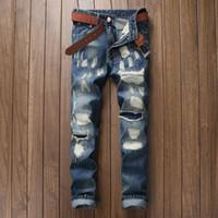 Men best designer jeans - Designer Fashion Jeans Men Best Quality Blue Slim Fit Men s Jeans Weaved Ripped Paint Printed Cotton Jeans Large Size