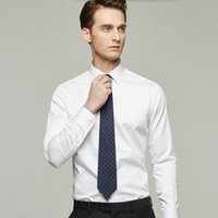 bamboo sleeve stylish - Men shirt tailor made white groom dress shirt solid color stylish business formal occasions shirt long sleeve shirt