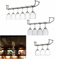 Wholesale 27 cm Champagne Stemware Holder Chrome Plated Wine Rack Glass Cup Kitchen Wall Bar Hanger Enclosed Stainless Steel Screw