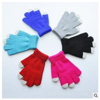 Wholesale hot winter gloves for kids autumn touch screen fingers gloves children Girl Boy Kid Stretchy Knitted multicolors cotton knitted gloves