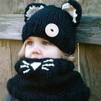 baby lisa - Cute Baby Hat Knitted Fashion New Babies Bold Lisa Scarf Hats Casual Animal Joining Cap for Boys and Girls