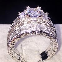 Venta al por mayor 925 de plata de ley de tres piedras de princesa cortar diamantes CZ diamante anillos fija anillos de boda de compromiso de joyería para las mujeres SZ 5-10