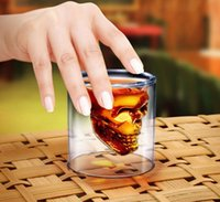 Wholesale 75ml Skull Head Shot Glass Cup Doomed Crystal Double Wall Vodka Drinkware Beer Wine Whisky Drinking Glasses Cup Home Bar Party Decoration