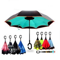 Wholesale Inverted Umbrella Double Layer Reverse Rainy Sunny Umbrella with C Handle