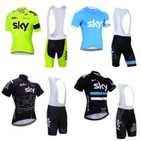 Wholesale 2016 team pro sky cycling jersey bib shorts set fluor SKY summer Sportswear Mountain Bike clothing Ropa Ciclismo MTB Bicycle Wear A0902
