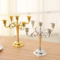 Wholesale Silver Gold Black Bronze Metal Candle Holder arms Candle Stand Wedding Candlestick Candelabra
